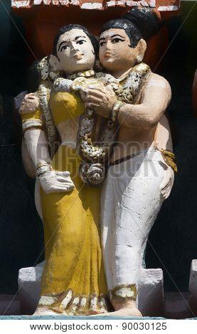 Detail Of Older Gopuram At Mahalingeswarar Temple, Flirting Couple.