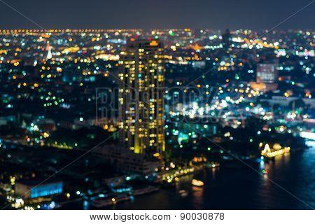 Abstract, Night Cityscape Light Blur Bokeh