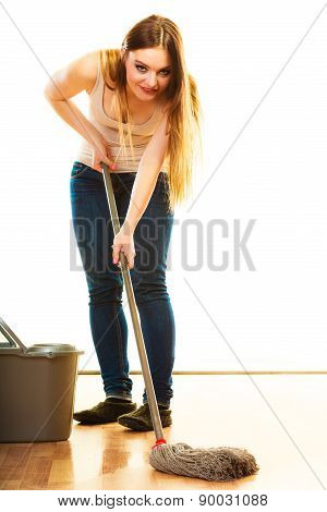 Cleanup housework concept. Funny cleaning girl young woman mopping floor holding mop white background poster
