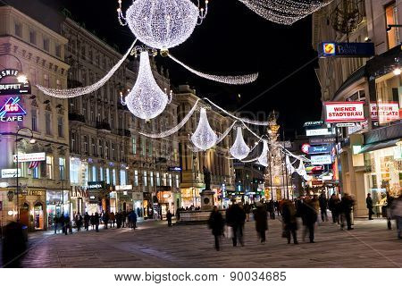 Vienna - Famous Graben Street At Night With Rain Reflection On The Cobble
