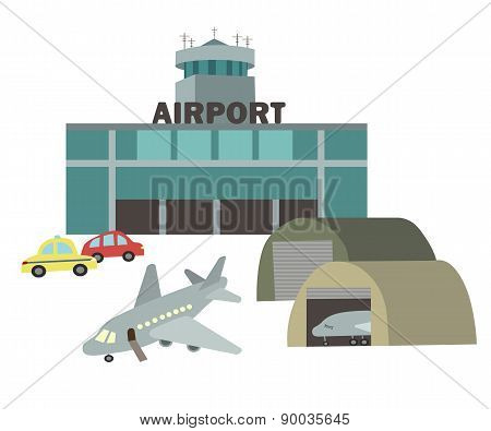 Airport Vector Drawing In The Style Of Children's Illustration