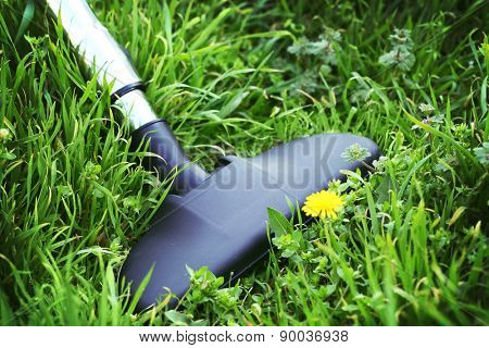 Metal pipe of vacuum cleaner in action - clean carpet of real green grass. Ecology concept