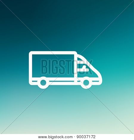 Delivery van icon thin line for web and mobile, modern minimalistic flat design. Vector white icon on gradient mesh background.