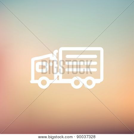Delivery truck icon thin line for web and mobile, modern minimalistic flat design. Vector white icon on gradient mesh background.