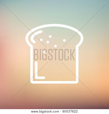 Single slice of bread icon thin line for web and mobile, modern minimalistic flat design. Vector white icon on gradient mesh background.