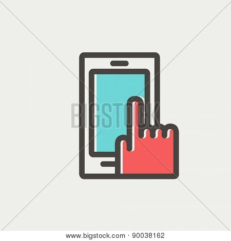 Mobile phone icon thin line for web and mobile, modern minimalistic flat design. Vector icon with dark grey outline and offset colour on light grey background.