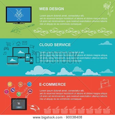web design, cloud service, e-commerce, vector, illustration