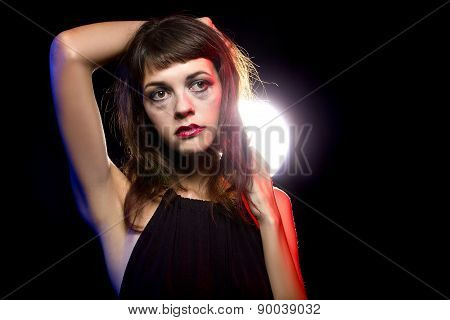 Disheveled drunk or female high on drugs at a nightclub poster