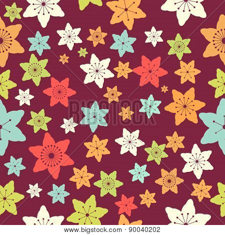Abstract Colorful Flowers Seamless Pattern. Vector