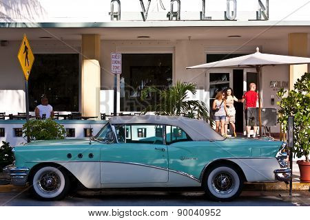 Midday View At Ocean Drive To The Art Deco Buildings In Miami South