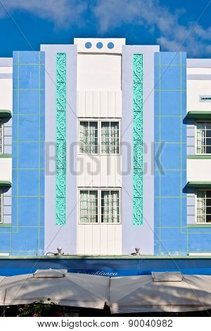 Midday View At Ocean Drive In Miami Beach With Art Deco Architecture