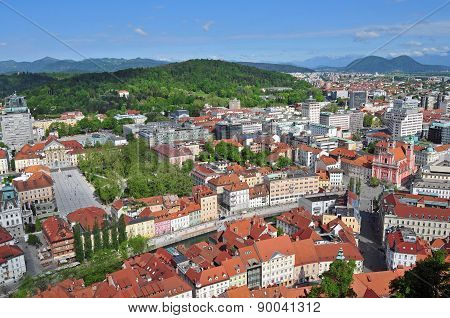 Aerial view of Ljubljanas old city center