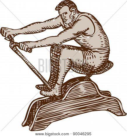 Athlete Exercising Vintage Rowing Machine Etching