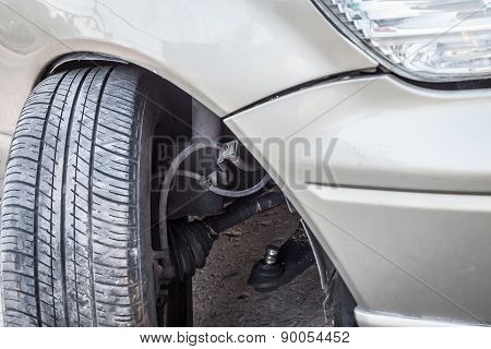 Car Crash Accident, Impact To Front Wheel Axle And Bumper Is Broken Cannot Drive, Insurance Safety C