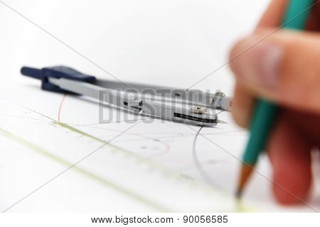 Drawing Tools With Compass - Business Concept