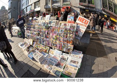 Newspapers Sold In Front Of Stephans Dome In Vienna