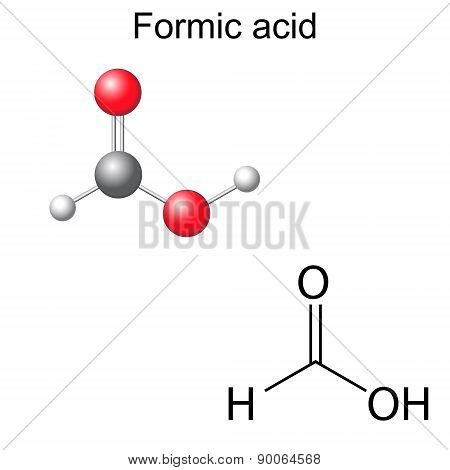 Structural Chemical Formula And Model Of Formic Acid