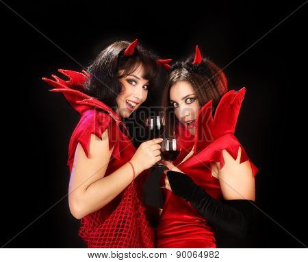 Two Devils Clinking Glasses Of Red Wine