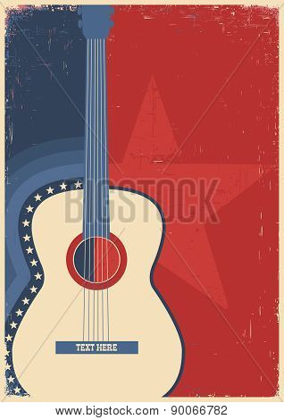 Concert Guitar For Poster Music Festival.
