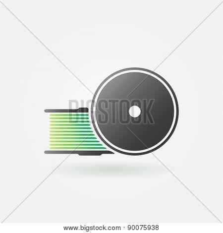 Green filament for 3D Printer vector icon