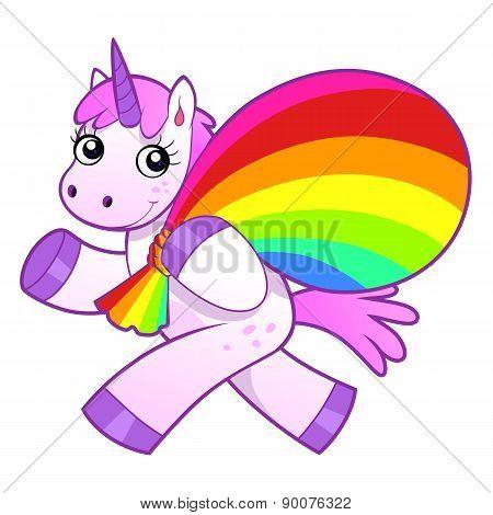 Unicorn With Rainbow Bag