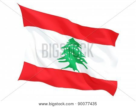 Waving Flag Of Lebanon