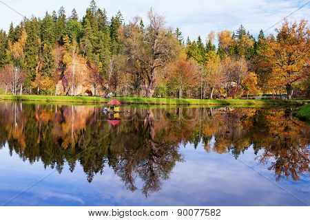 House For Swans On The Lake In The Autumn Forest
