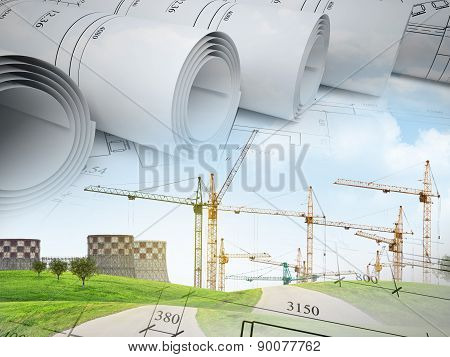 Field with building crane under blue sky