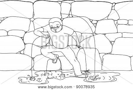 Outline Of Man Covering Dam