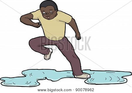 Person Slipping On Puddle