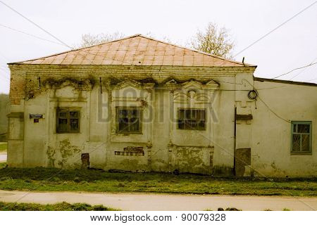 Destroyed brick building of public bath in the Russian province