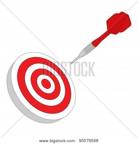 Red darts target aim. Successful shoot. Vector illustration poster