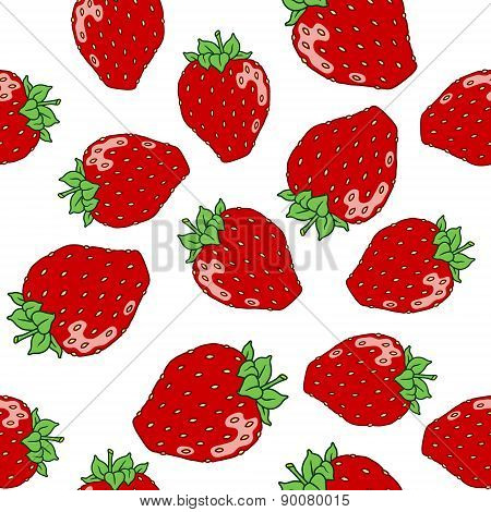 Sweet hand drawn red strawberrys pattern on white