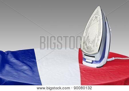 Preparing To Smooth Out The Wrinkles Of Flag-france