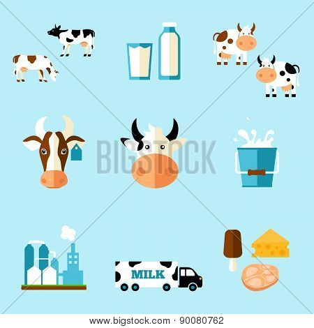 cute cartoon illustration of a cow and products we gain from her