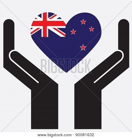 Hand showing New Zealand flag in a heart shape.