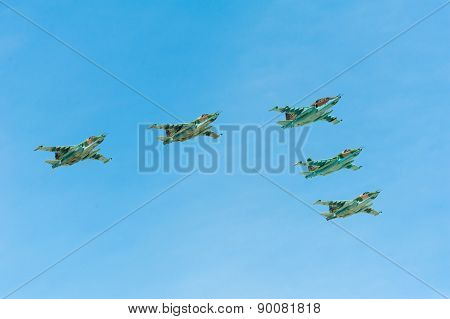 MOSCOW - MAY 7: Jet fighters participate at last rehearsal of the parade dedicated to 70th anniversary of the victory in the Second World War in Red Square on May 7, 2015 in Moscow