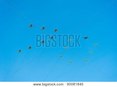 MOSCOW - MAY 7: Jet fighters show number 70 in the sky at last rehearsal of the parade dedicated to 70th anniversary of the victory in the Second World War in Red Square on May 7, 2015 in Moscow