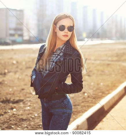 Fashion Portrait Of Stylish Pretty Blonde Woman Outdoors In Sunny Day