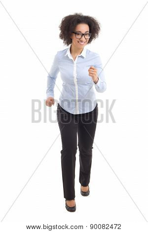 Young Beautiful African American Business Woman Running Isolated On White