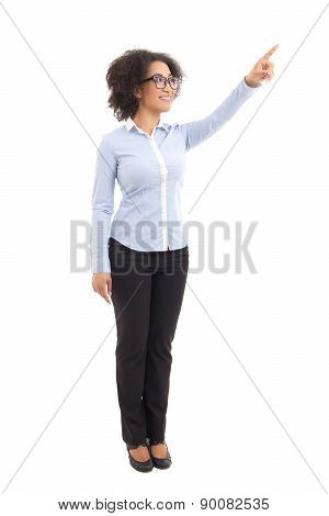 Young Beautiful African American Business Woman Pointing At Something Isolated On White