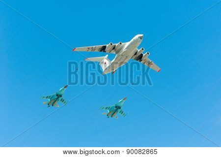 MOSCOW - MAY 7: Refueling aircraft and fighters participate at last rehearsal of the parade dedicated to 70th anniversary of the victory in the Second World War in Red Square on May 7, 2015 in Moscow