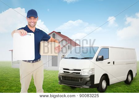 Delivery man with package giving clipboard for signature against blue sky