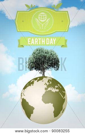 earth day graphic against blue sky