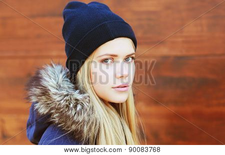 Portrait Of Pretty Hipster Girl In Urban Style Outdoors
