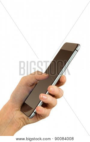 Woman sending a text on white background