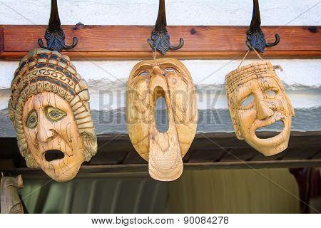 Souvenirs : Masks Made Of Wood, Symbolizing Human Emotions.