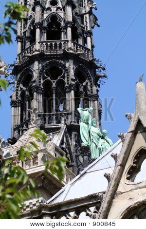 notre dame cathedral roof details paris france poster