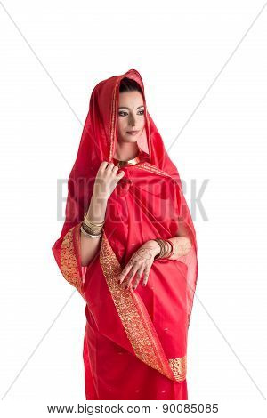 Beautiful East woman in sari, isolated on white