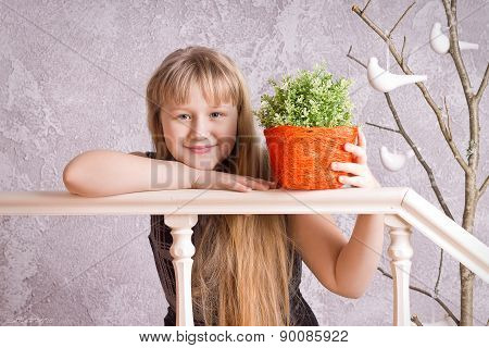 Smiling long-haired girl